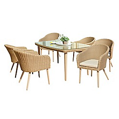 Debenhams - Beige rattan-effect 'Verona' garden table and 6 chairs