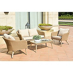 Debenhams - Beige rattan-effect 'Verona' garden sofa, coffee table and 2 armchairs