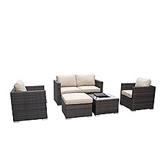 Debenhams - Dark brown rattan-effect 'LA' garden sofa, coffee table with ice bucket, 2 armchairs and footstool