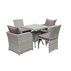 Debenhams - Grey rattan-effect 'Compact' garden dining set