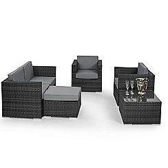 Debenhams - Grey rattan-effect 'LA' garden sofa, coffee table, 2 armchairs and footstool