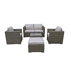 Debenhams - Light brown rattan-effect 'LA' garden sofa, coffee table, 2 armchairs and footstool