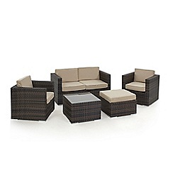 Debenhams - Dark brown rattan-effect 'LA' garden sofa, coffee table, 2 armchairs and footstool