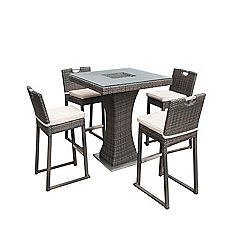 Debenhams - Dark brown rattan-effect 'LA' bar garden table with ice bucket and 4 chairs