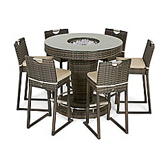 Debenhams - Dark brown rattan-effect 'LA' bar garden table with ice bucket and 6 chairs