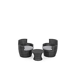 Debenhams - Grey rattan-effect 'LA Boston' garden side table and 2 armchairs