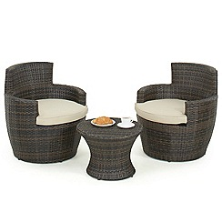 Debenhams - Dark brown rattan-effect 'LA Boston' garden side table and 2 armchairs