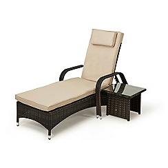 Debenhams - Dark brown rattan-effect 'LA Florida' reclining garden sunlounger and side table