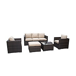 Debenhams - Dark brown rattan-effect 'LA Georgia' garden sofa, side table, 2 armchairs, footstool and ice bucket