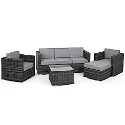 Debenhams - Grey rattan effect 'LA Georgia' garden sofa, side table, 2 armchairs and footstool