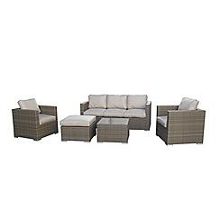 Debenhams - Light brown rattan-effect 'LA Georgia' garden sofa, side table, 2 armchairs and footstool