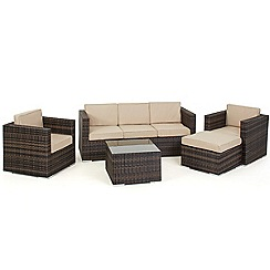 Debenhams - Dark brown rattan-effect 'LA Georgia' garden sofa, side table, 2 armchairs and footstool