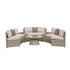 Debenhams - Light brown rattan-effect 'LA' half moon garden sofa set
