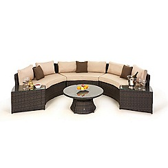 Debenhams - Dark brown rattan-effect 'LA' half moon garden sofa set