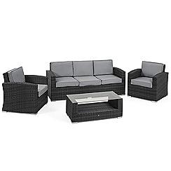 Debenhams - Grey rattan-effect 'LA Kingston' garden sofa, coffee table and 2 armchairs