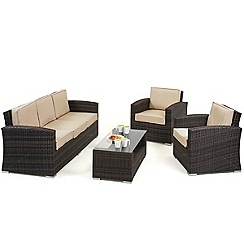 Debenhams - Brown rattan effect 'LA Kingston' garden sofa, coffee table and 2 armchairs