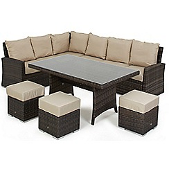 Debenhams - Dark brown rattan-effect 'LA Kingston' corner garden dining unit