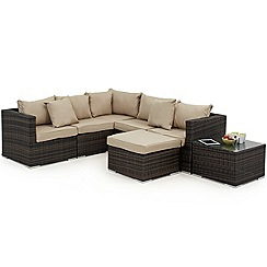 Debenhams - Dark brown rattan-effect 'LA London' garden corner unit