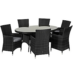 Debenhams - Grey rattan effect 'LA' oval garden table and 6 chairs