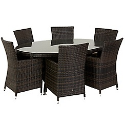 Debenhams - Dark brown rattan-effect 'LA' oval garden table and 6 chairs