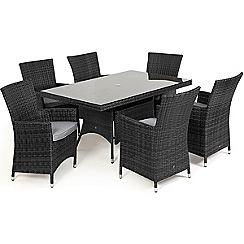 Debenhams - Grey rattan-effect 'LA' rectangular garden table and 6 chairs