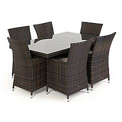 Debenhams - Dark brown rattan-effect 'LA' rectangular garden table and 6 chairs