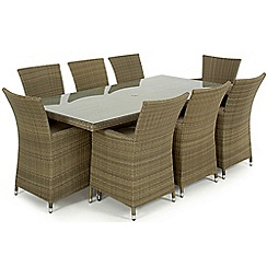 Debenhams - Light brown rattan-effect 'LA' rectangular garden table and 8 chairs