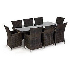 Debenhams - Dark brown rattan-effect 'LA' rectangular garden table and 8 chairs