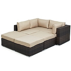 Debenhams - Dark brown rattan-effect 'LA Rio' garden corner unit