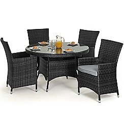 Debenhams - Grey rattan-effect 'LA' round garden table and 4 chairs
