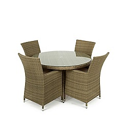 Debenhams - Light brown rattan-effect 'LA' round garden table and 4 chairs