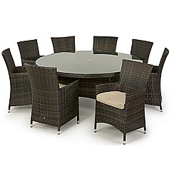 Debenhams - Dark brown rattan-effect 'LA' round garden table and 8 chairs