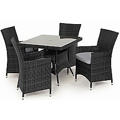Debenhams - Grey rattan effect 'LA' square garden table and 4 chairs