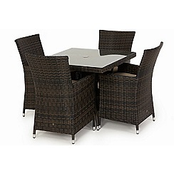 Debenhams - Dark brown rattan-effect 'LA' square garden table and 4 chairs
