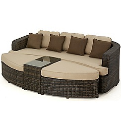 Debenhams - Dark brown rattan-effect 'LA Toronto' garden daybed