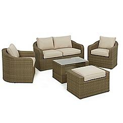 Debenhams - Light brown rattan-effect 'LA Washington' garden sofa, side table, 2 armchairs and footstool