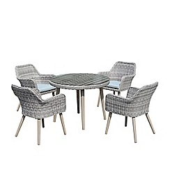 Debenhams - Grey rattan effect 'Palmira' garden table and 4 chairs set