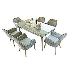 Debenhams - Grey rattan-effect 'Palmira' garden table and 6 chairs