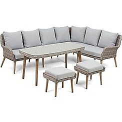 Debenhams - Grey rattan-effect 'Palmira' garden sofa, table and 2 stools