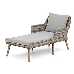 Debenhams - Grey rattan-effect 'Palmira' garden sunlounger with cushion