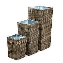 Debenhams - Set of 3 brown rattan effect 'Winchester' planters
