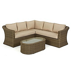 Debenhams - Light brown rattan-effect 'Winchester' small garden seating unit