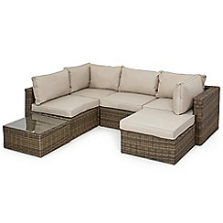 Debenhams - Brown rattan effect 'Winchester' corner garden seating unit and table set