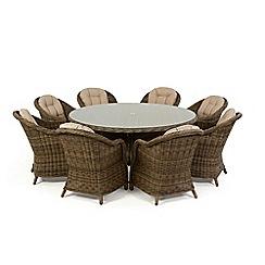 Debenhams - Brown rattan effect 'Winchester' round garden table and 8 armchairs