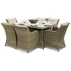 Debenhams - Light brown rattan-effect 'Winchester' rectangular garden table and 6 armchairs