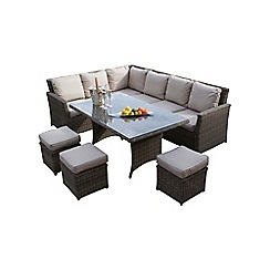 Debenhams - Light brown rattan-effect 'Winchester' corner garden dining unit