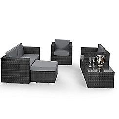Debenhams - Grey rattan effect 'LA' garden sofa, coffee table, 2 armchairs and footstool