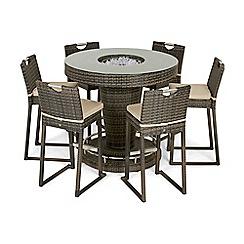 Debenhams - Brown rattan effect 'LA' bar garden table with ice bucket and 6 chairs