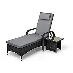 Debenhams - Grey rattan effect 'LA Florida' reclining garden sunlounger and side table