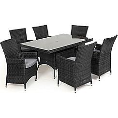 Debenhams - Grey rattan effect 'LA' rectangular garden table and 6 chairs